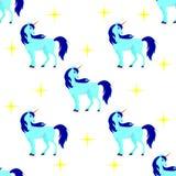 Teste padrão sem emenda com unicórnio azul, estrelas Imagem de Stock Royalty Free