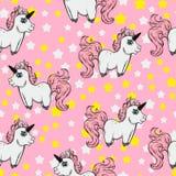 Teste padrão sem emenda com unicórnios e estrelas unicórnios em um fundo cor-de-rosa Fabulou Foto de Stock