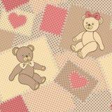 Teste padrão sem emenda com urso de peluche Fotos de Stock Royalty Free