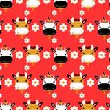 Teste padrão sem emenda com vacas bonitos Fotografia de Stock Royalty Free