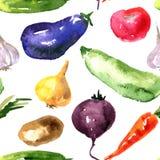 Teste padrão sem emenda com vegetais Fotografia de Stock Royalty Free