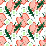 Teste padrão sem emenda com vegetais do verão - cupsicum, pepino, ruccola ilustração royalty free