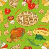 Teste padrão sem emenda com vegetais, queijo e tortas Fotos de Stock Royalty Free