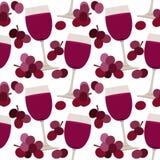 Teste padrão sem emenda com vidros de vinho Foto de Stock