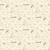 Teste padrão sem emenda com xícara de café e desejos do bom dia - vector a ilustração Imagens de Stock Royalty Free