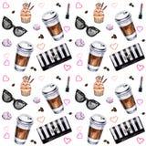 Teste padrão sem emenda com xícaras de café dos materiais descartáveis, copo da aquarela Fotos de Stock