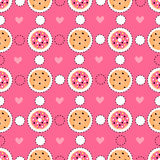 Teste padrão sem emenda cor-de-rosa com etiquetas do alimento Fotografia de Stock