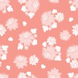 Teste padrão sem emenda cor-de-rosa coral do vetor com folhas e a flor selvagem Apropriado para a matéria têxtil, o papel de embr ilustração royalty free