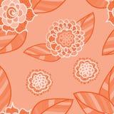 Teste padrão sem emenda cor-de-rosa do vetor com flores da garatuja Foto de Stock Royalty Free