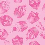 Teste padrão sem emenda cor-de-rosa dos queques Fotografia de Stock Royalty Free