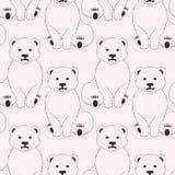 Teste padrão sem emenda cor-de-rosa dos ursos no fundo neutro Imagem de Stock