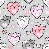 Teste padrão sem emenda Corações dos gatos em um fundo cinzento Vetor ilustração stock