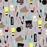 Teste padrão sem emenda cosmético, fundo dos acessórios da composição Produtos coloridos diversos no cinza Decoração à moda e ele ilustração royalty free