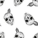 Teste padrão sem emenda Crânio preto e branco com elementos ao redor ilustração stock
