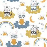 Teste padrão sem emenda criançola com gatos bonitos e coelho fundo para crianças, tela do vetor, matéria têxtil, papel de envolvi imagens de stock