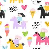 Teste padrão sem emenda criançola com meninas bonitos e pônei Fundo criativo das crianças para a tela, matéria têxtil, papel de p Fotografia de Stock