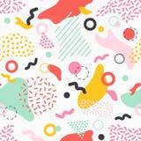 Teste padrão sem emenda criativo com manchas, linhas e formas coloridas da vária textura no fundo branco stylish ilustração stock