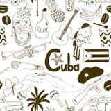 Teste padrão sem emenda cubano do esboço ilustração royalty free