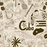 Teste padrão sem emenda cubano do esboço retro Fotografia de Stock Royalty Free
