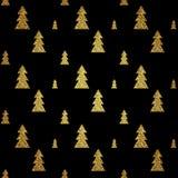 Teste padrão sem emenda da árvore de Natal do ouro no fundo preto Ilustração do vetor Imagem de Stock