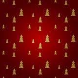 Teste padrão sem emenda da árvore de Natal do ouro no fundo vermelho Ilustração do vetor Fotos de Stock