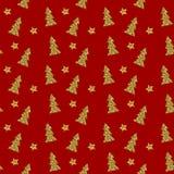 Teste padrão sem emenda da árvore de Natal do ouro no fundo vermelho Ilustração do vetor Imagens de Stock Royalty Free