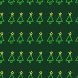 Teste padrão sem emenda da árvore de Natal do vetor Entregue fundo tirado, bonito, criançola, verde do feriado Imagens de Stock Royalty Free