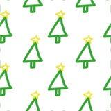 Teste padrão sem emenda da árvore de Natal Entregue tirado, bonito, criançola, símbolo do ` s do feriado no fundo branco Foto de Stock