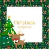Teste padrão sem emenda da época de férias do Natal com a árvore bonito da rena e de Natal com texto do mas de X alegre ' ilustração do vetor