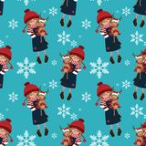 Teste padrão sem emenda da época de férias do Natal com a menina bonito no costume do inverno com a boneca bonito da rena com cha ilustração do vetor