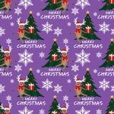 Teste padrão sem emenda da época de férias do Natal com os cervos bonitos no costume de Santa e árvore de Natal com texto do mas  ilustração stock