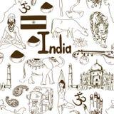 Teste padrão sem emenda da Índia do esboço Fotografia de Stock Royalty Free