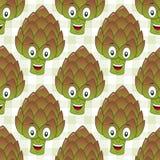 Teste padrão sem emenda da alcachofra bonito dos desenhos animados Fotografia de Stock Royalty Free