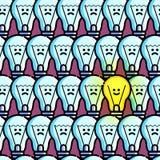 Teste padrão sem emenda da ampola Feliz e triste Símbolo da ideia nova Textura repetida motivação do vetor Linha estilo lisa Fotografia de Stock