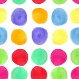 Teste padrão sem emenda da aquarela colorida com círculos O fundo com pintado circularmente espirra Imagem de Stock