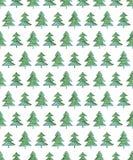 Teste padrão sem emenda da aquarela com árvore de Natal Fotos de Stock Royalty Free