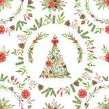 Teste padrão sem emenda da aquarela com árvore de Natal e comp(s) dos círculos Ilustração do Vetor