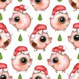 Teste padrão sem emenda da aquarela com árvore de Natal e porcos em Sant ilustração do vetor