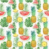 Teste padrão sem emenda da aquarela com abacaxis, melancias e as folhas tropicais no fundo branco imagens de stock royalty free