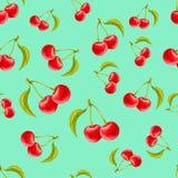 Teste padrão sem emenda da aquarela com as cerejas no fundo de turquesa Imagens de Stock Royalty Free