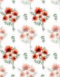 Teste padrão sem emenda da aquarela com as flores bonitas da laranja selvagem e ramos verdes no fundo branco Imagens de Stock Royalty Free