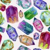 Teste padrão sem emenda da aquarela com as pedras de gema brilhantes Ornamento de cristal pintado à mão isolado no fundo cinzento ilustração royalty free