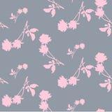 Teste padrão sem emenda da aquarela com as silhuetas da luz - rosas e folhas cor-de-rosa na luz - fundo cinzento Motivos chineses Imagem de Stock