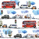 Teste padrão sem emenda da aquarela com a camionete retro do curso ilustração royalty free