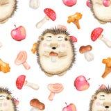 Teste padrão sem emenda da aquarela com cogumelos, o ouriço bonito dos desenhos animados e as maçãs ilustração royalty free