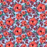Teste padrão sem emenda da aquarela com cor-de-rosa e a folha Folhas vermelhas do verde das flores, no fundo azul Arte finala inf Foto de Stock