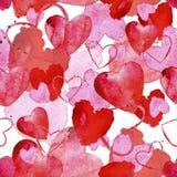 Teste padrão sem emenda da aquarela com coração vermelho e cor-de-rosa no CCB branco Foto de Stock Royalty Free
