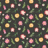 Teste padrão sem emenda da aquarela com flores, plantas carnudas, cactos ilustração do vetor