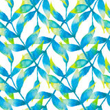 Teste padrão sem emenda da aquarela com folhas tropicais Imagens de Stock