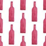 Teste padrão sem emenda da aquarela com garrafas de vinho ilustração royalty free